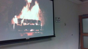 We warm by the fire for our last Fall semester class!